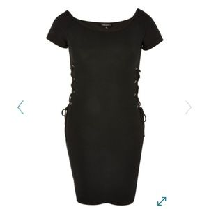 Topshop Lace Up Ribbed Dress